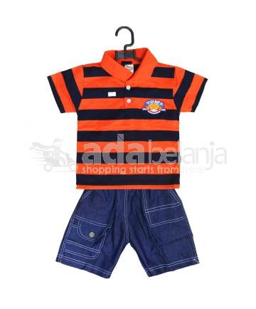 Tom Pege Set Kemeja Garis + Jeans Orange Tua