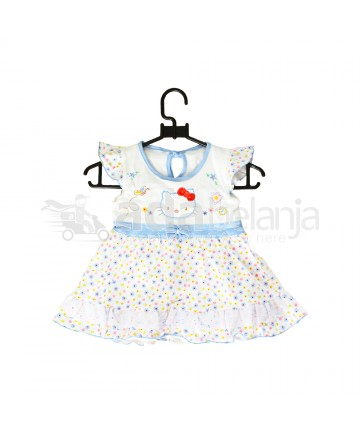 Nini Set Dress + Dalaman + Topi Hello Kitty Biru