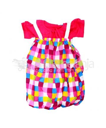 Baju Overall Perempuan Kotak-Kotak Ukuran No. 2