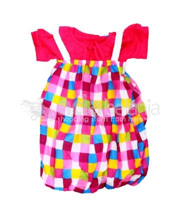 Baju Overall Perempuan Kotak-Kotak Ukuran No. 3