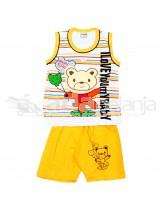 Tom Tom Set Baju Sleeveless + Celana Beruang Kuning Tua