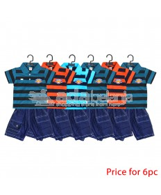 Tom Pege Set Kemeja Garis + Jeans 6pc