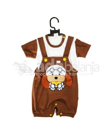 TomTom Baju Overall Bordir Binatang Warna Coklat