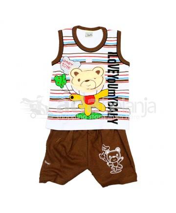 Tom Tom Set Baju Sleeveless + Celana Beruang Coklat