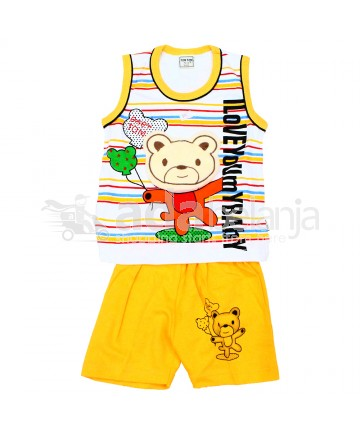 Tom Tom Set Baju Sleeveless + Celana Beruang Kuning Tua