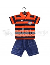 Tom Pege Set Kemeja Garis + Jeans Orange Tua