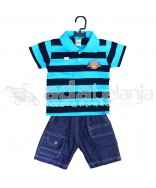 Tom Pege Set Kemeja Garis + Jeans Cyan