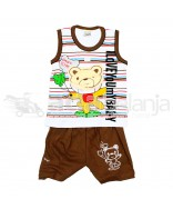 Tom Tom Set Baju Sleeveless + Celana Beruang Coklat